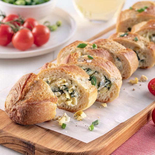 Baguette farcie aux artichauts et fromage