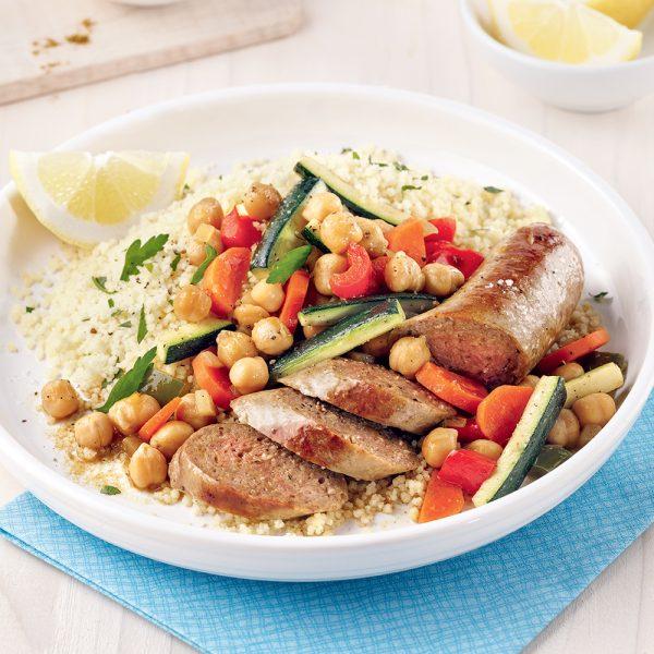 Couscous marocain à la saucisse de canard au cari