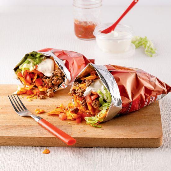 Tacos dans un sac de croustilles