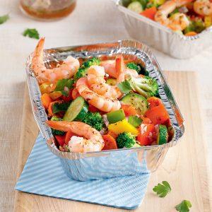 Barquettes de crevettes et légumes