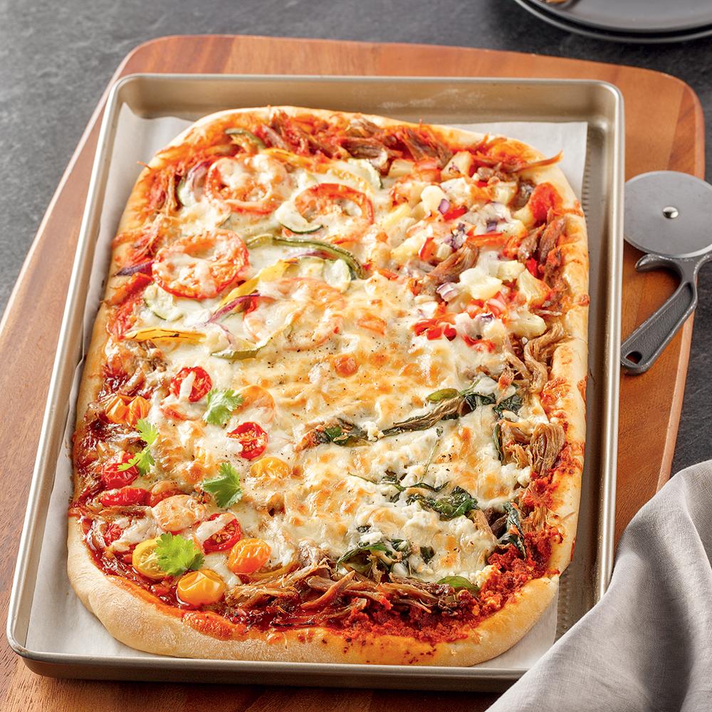 Pizza au canard confit quatre façons