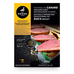 Poitrine de canard désossée, fumée naturellement et cuite Canards du Lac Brome