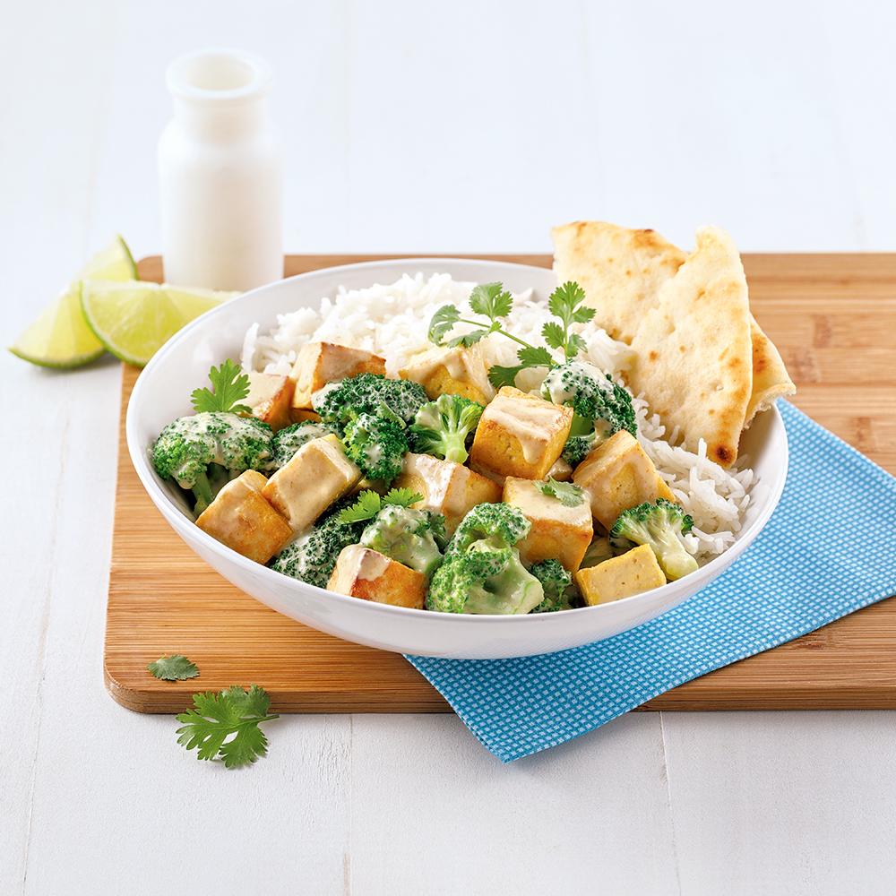 Cari de brocoli et tofu au lait de coco