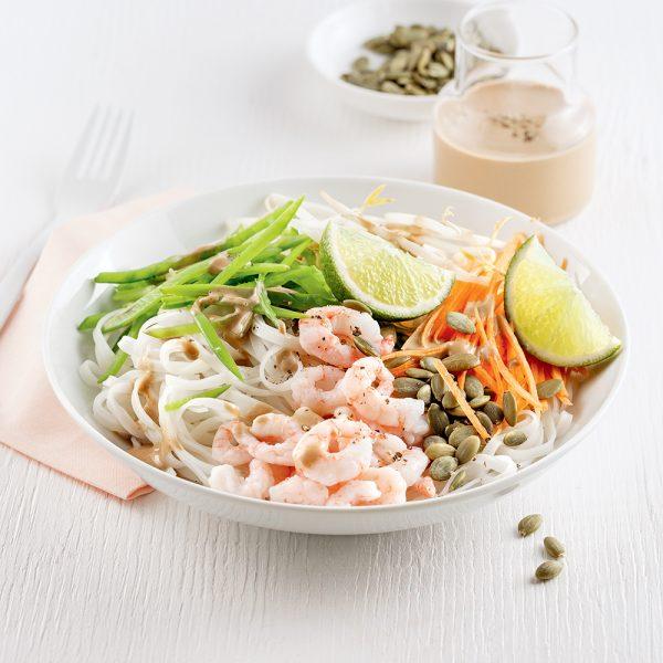 Salade de nouilles aux crevettes