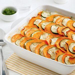 Étagé au saumon, patates douces et courgettes