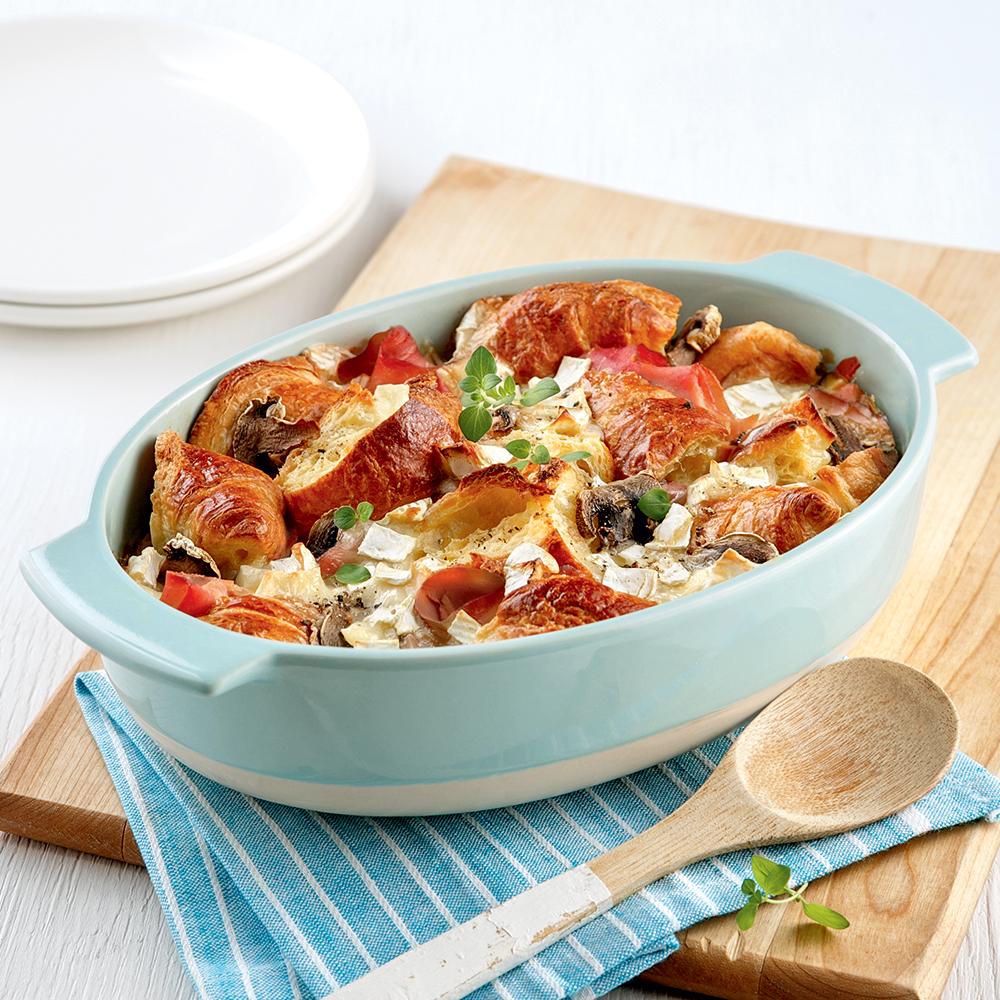 Casserole de croissants au jambon et champignons