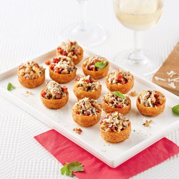 Bouchées aux champignons, chorizo et parmesan