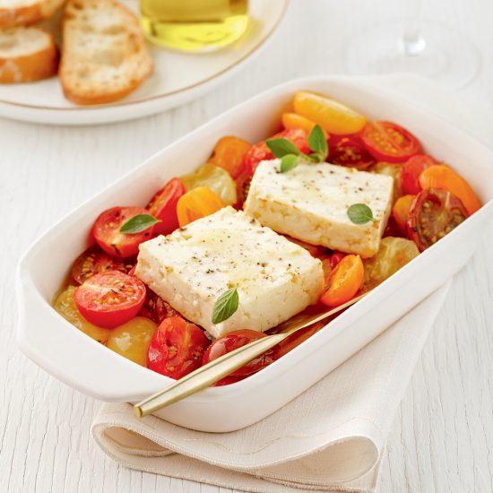 Feta et tomates cuites au four