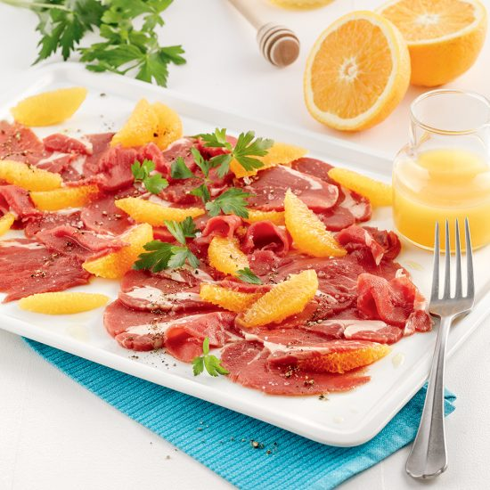 Carpaccio de filet de veau de grain orange et miel