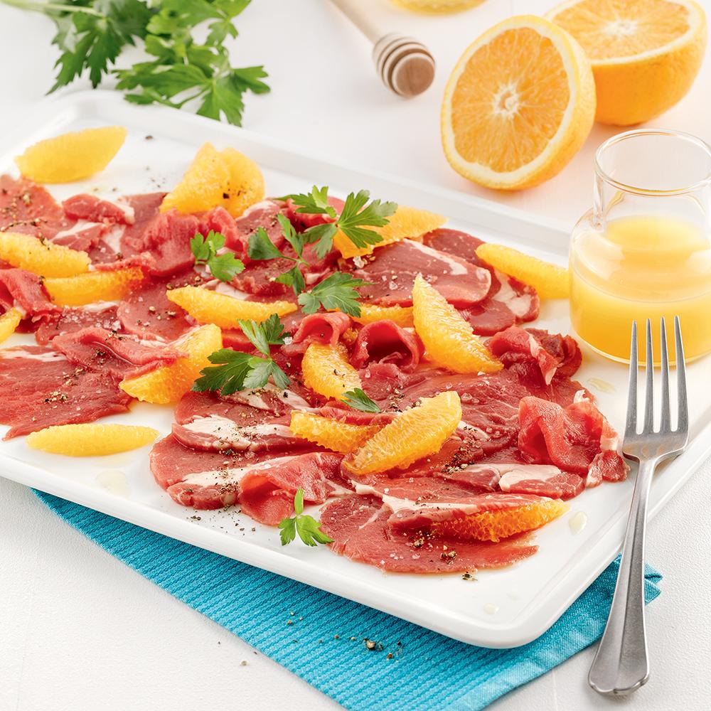 Carpaccio de filet de veau de grain orange et miel