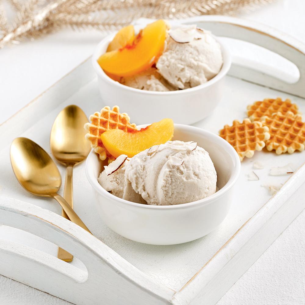 Crème glacée pêche-coco