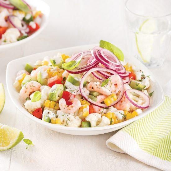 Salade de crevettes, chou-fleur et concombre