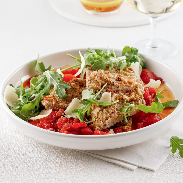 Escalopes de veau aux tomates et pancetta