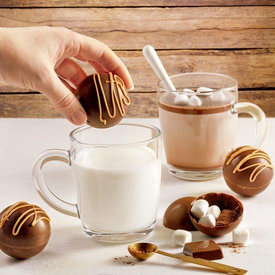 Bombes de chocolat chaud au caramel