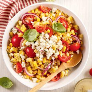 Salade de maïs, tomates et feta