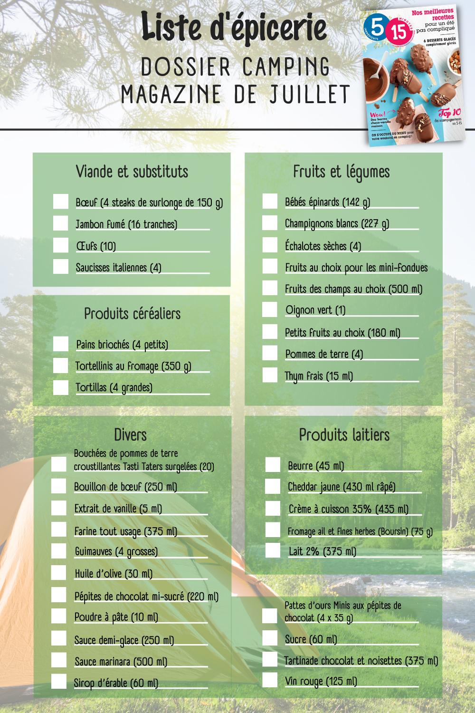 Liste d'épicerie - Menu camping (numéro juillet 2021)