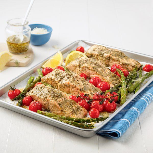 Plaque de saumon et légumes