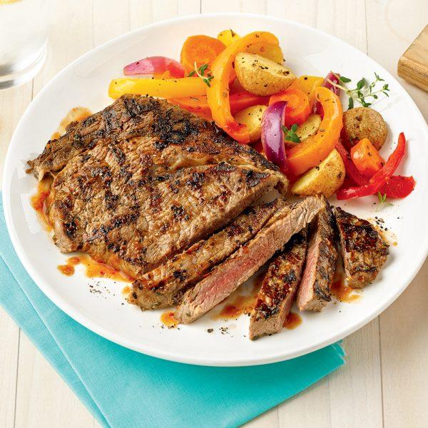 Steak mariné et papillote de légumes