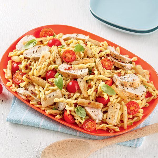 Salade de pâtes au poulet et salsifis