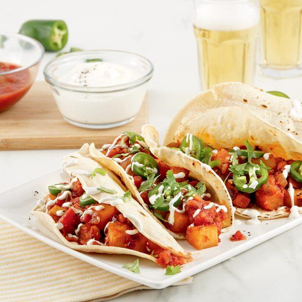 Tacos aux pommes de terre jaunes et chorizo