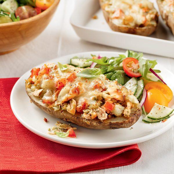 Pommes de terre farcies au saumon grillé à l'italienne
