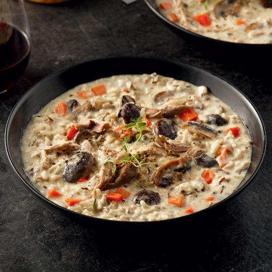 Soupe crémeuse aux champignons et canard