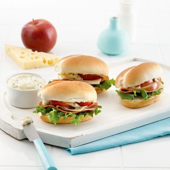 Mini-sandwichs au jambon et aux pommes