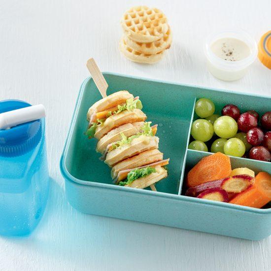 Mini-sandwichs gaufres sur brochettes