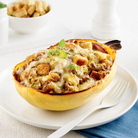 Courge spaghetti au boeuf style soupe à l'oignon