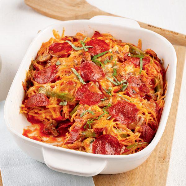 Casserole de spaghettis style pizza garnie à congeler