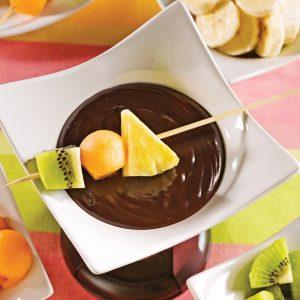 Fondue exotique au chocolat noir