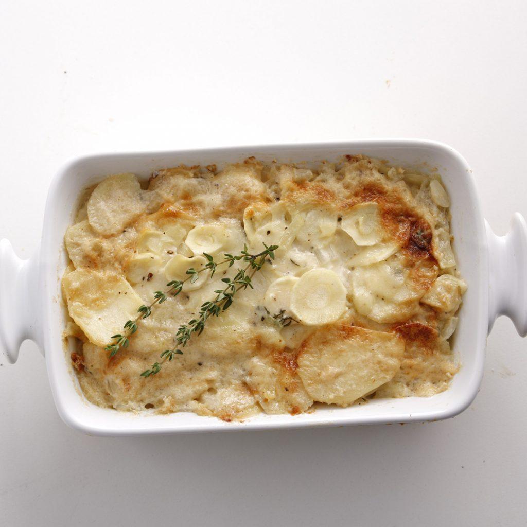 Gratin de panais et navets au fromage suisse