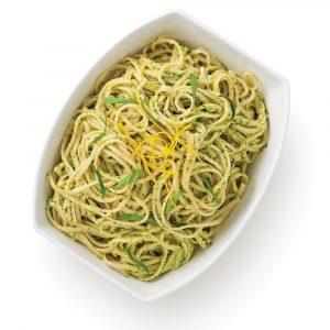 Linguines au pesto de brocoli et zestes de citron