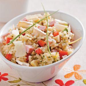 Salade de risotto au jambon et chèvre