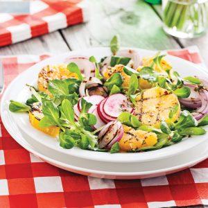 Salade de mâche et d'oranges grillées