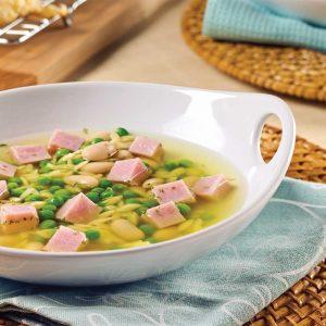 Soupe express au jambon, haricots blancs et orzo