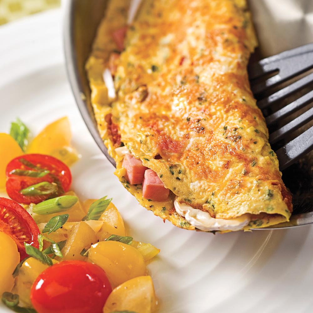 Omelette jambon et tomates séchées