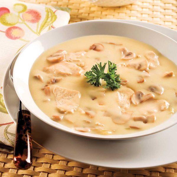 Crème veloutée au poulet et champignons