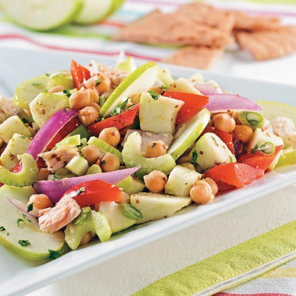 Salade de thon aux pommes et pois chiches