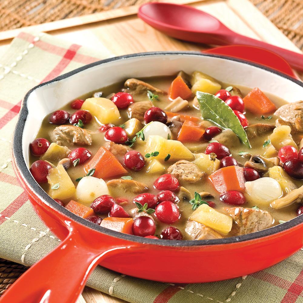 Mijoté de porc aux pommes et canneberges