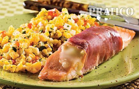 Pavés de saumon au fromage fondant et prosciutto