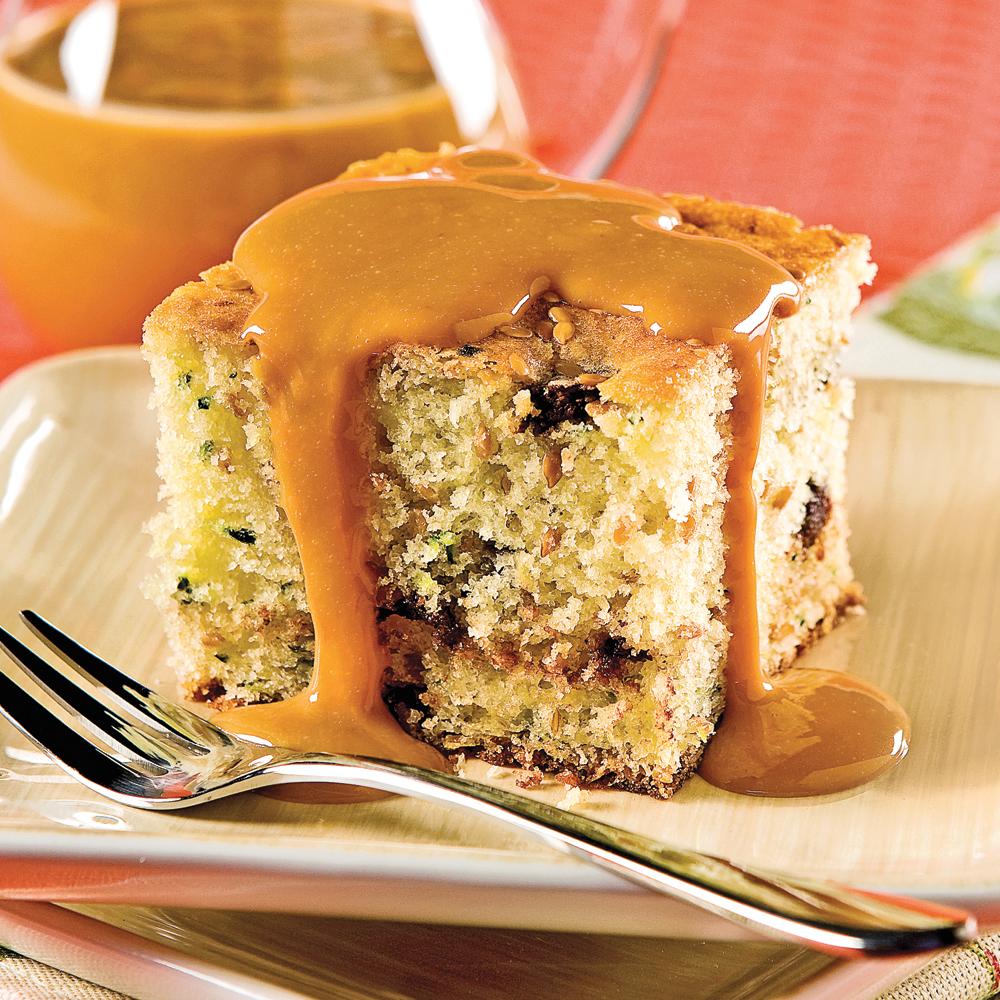 Gâteau aux courgettes, graines de lin et chocolat