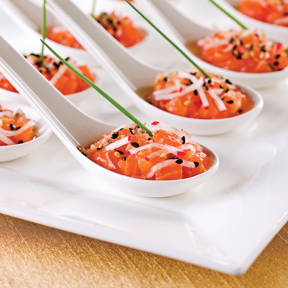 Tartare de saumon en cuillère