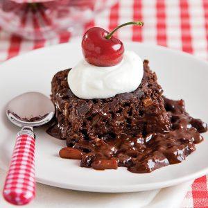 Brownies aux amandes et fudge chaud à la mijoteuse