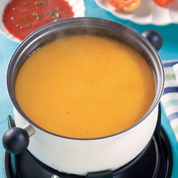 Bouillon pour fondue de poisson et fruits de mer