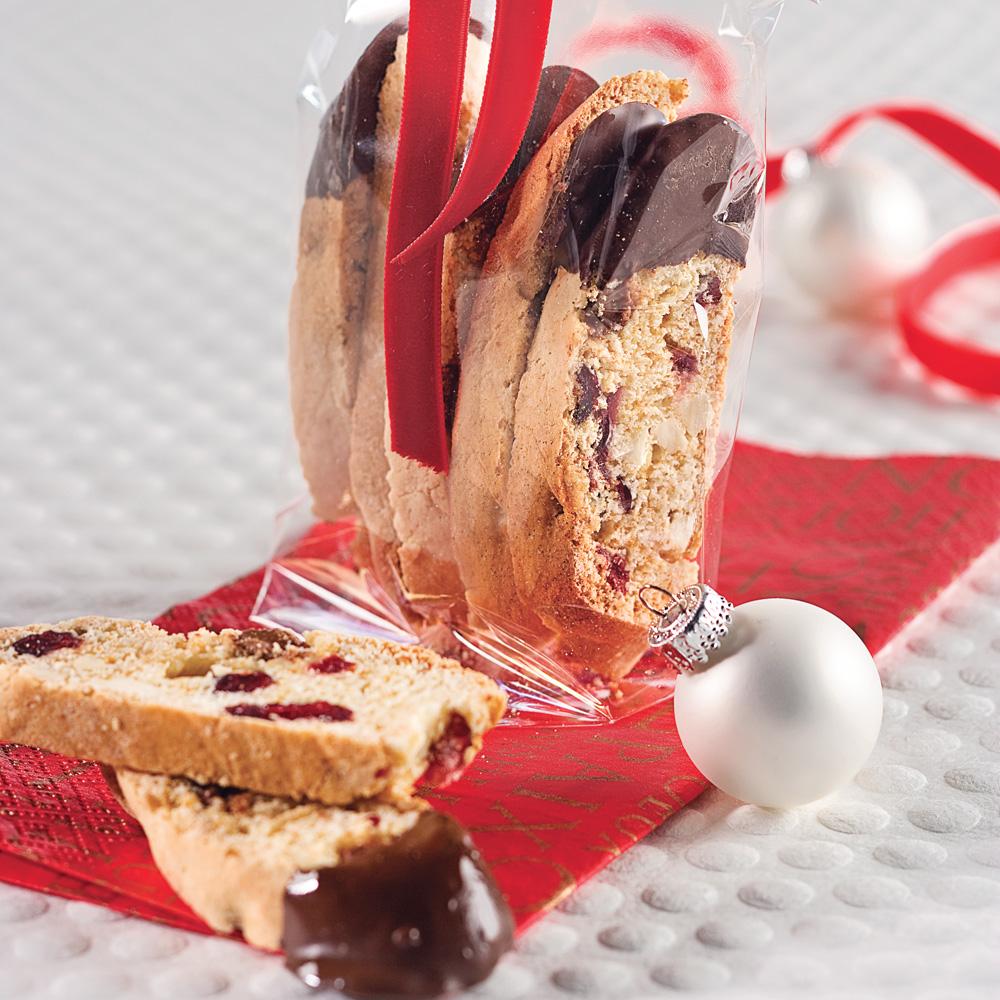 Mini-biscottis aux amandes et canneberges