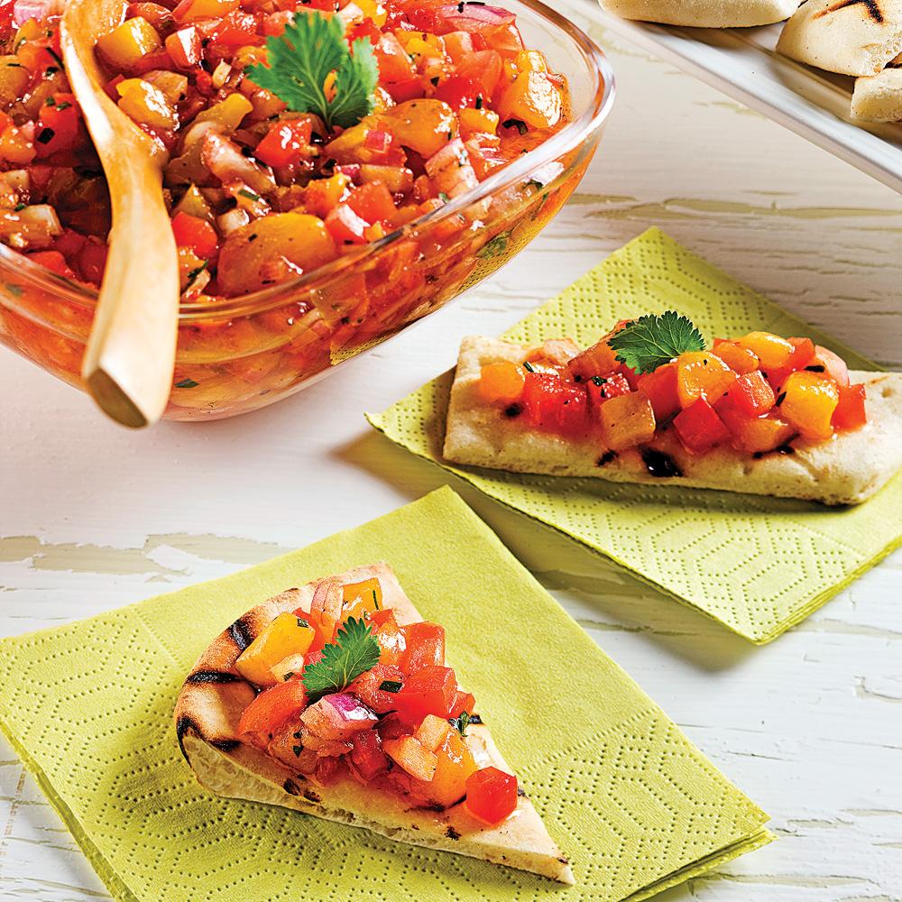 Salsa express aux tomates et pêches