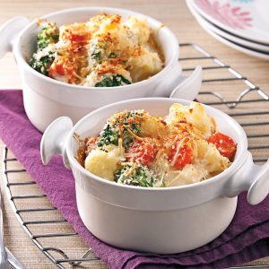 Gratin de légumes, sauce béchamel au tofu soyeux