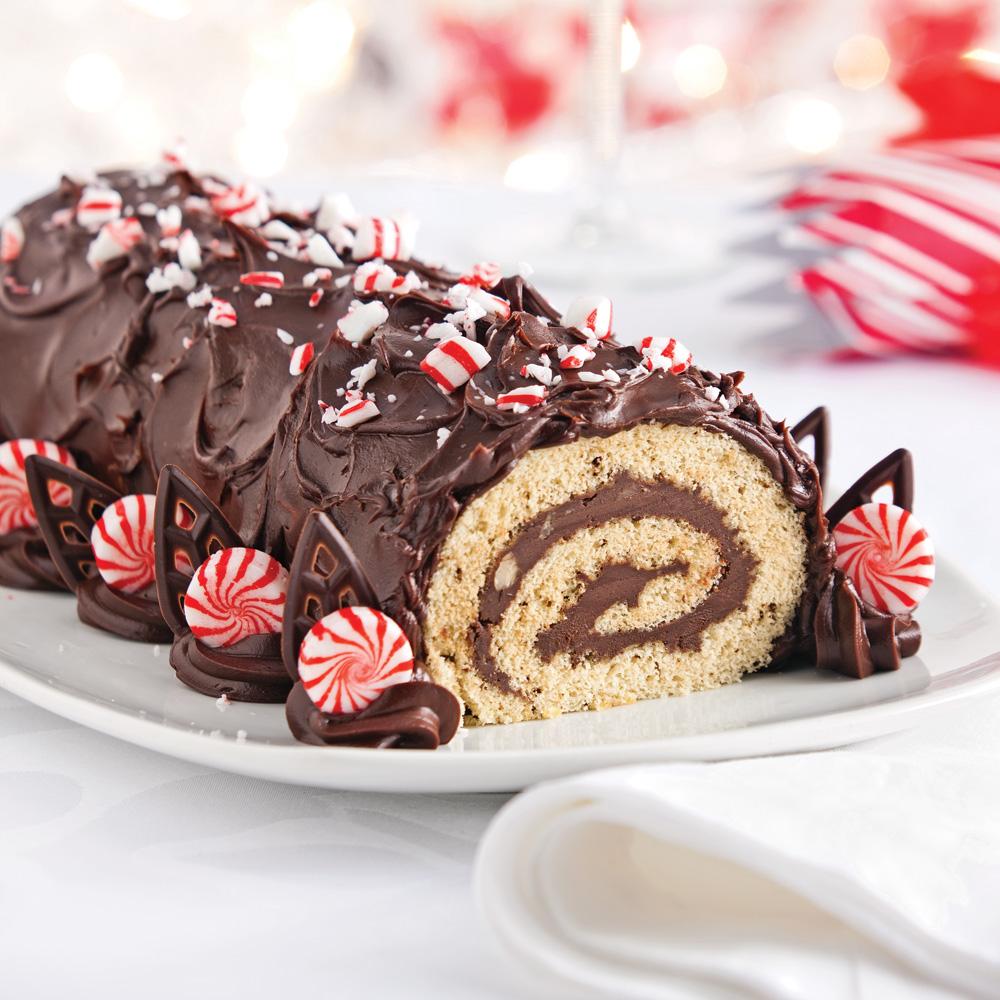 Bûche de Noël moka au chocolat et noisettes