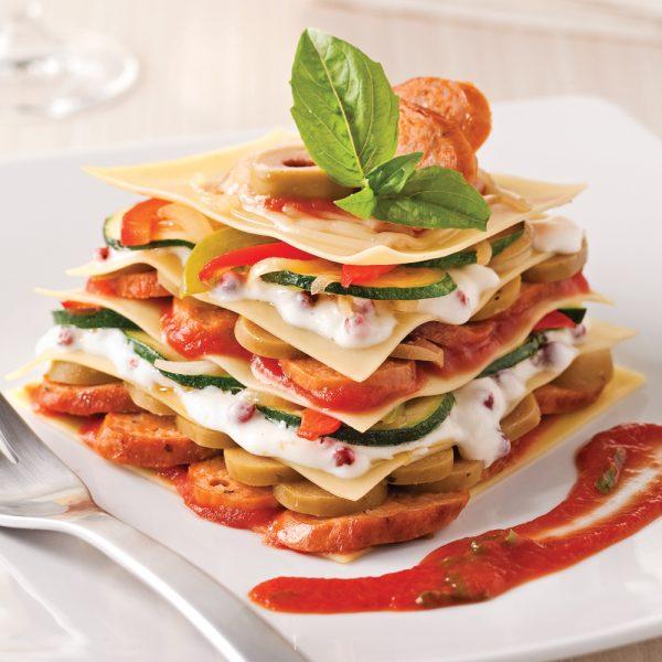 Lasagne minute aux saucisses italiennes et olives vertes